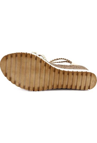 Dgn 3240 Kadın T-Strap Dolgu Topuk Sandalet 20Y
