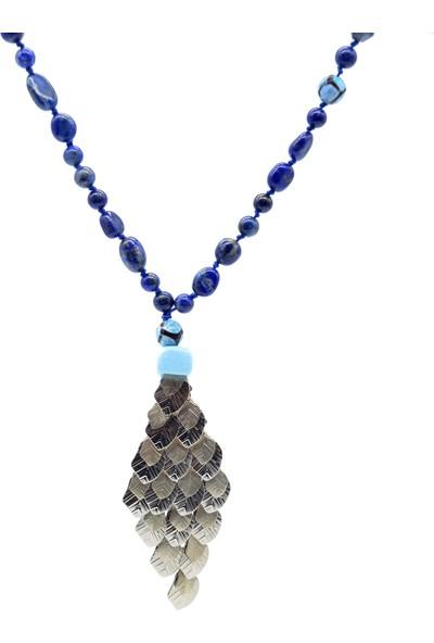 Cosiness Jupiterinkızı Lapis Lazuli - Tibet Akiği Doğal Taşlı Kolye