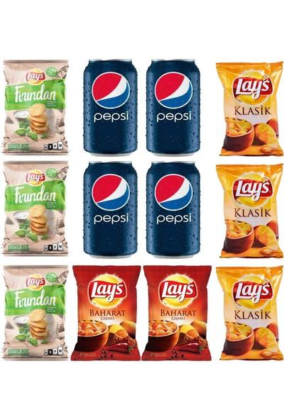 Pepsico Lays Baharat & Fırından Klasik Cips 98 gr 8'li - Pepsi 330 ml Kutu Kola x 4