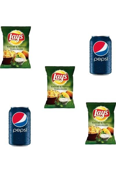 Pepsico Lays Yoğurt ve Mevsim Yeşillikleri 98 gr x 3 -Pepsi 330 ml Kutu Kola x 2