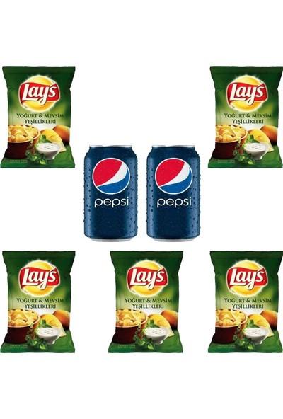 Pepsico Lays Yoğurt ve Mevsim Yeşillikleri 98 gr x 5 -Pepsi 330 ml Kutu Kola x 2