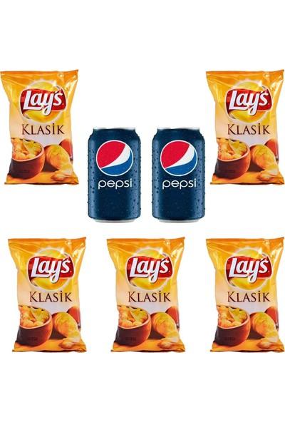 Pepsico Lays Klasik Sade Patates Cipsi 98 gr x 5 Pepsi 330 ml Kutu Kola x 2