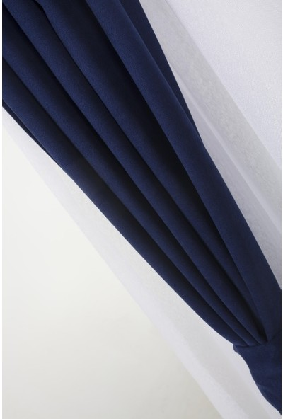 Massarelli Fon Perde Lacivert 1-2 Seyrek Pile 60 x 260 cm