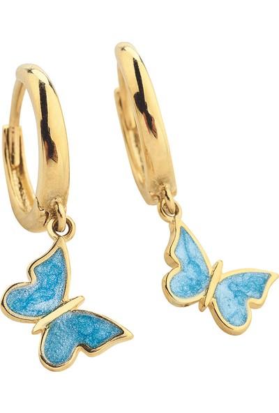 Şakar Gold 14 Ayar Mavi Mineli Kelebek Küpe