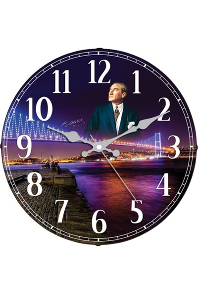 İş Saat Atatürk Motifli 36 cm Bombeli Camlı Dekoratif Duvar Saati