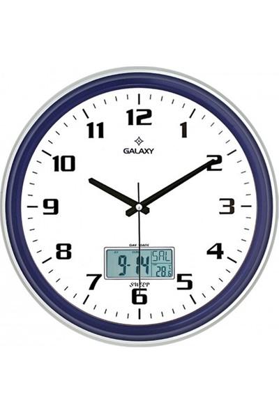 İş Saat Dijital Göstergeli Takvimli Termometreli Higometreli Lüks Duvar Saati
