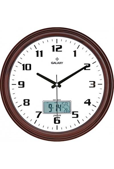 İş Saat Dijital Göstregeli Takvimli Termometreli Higometreli Lüks Duvar Saati