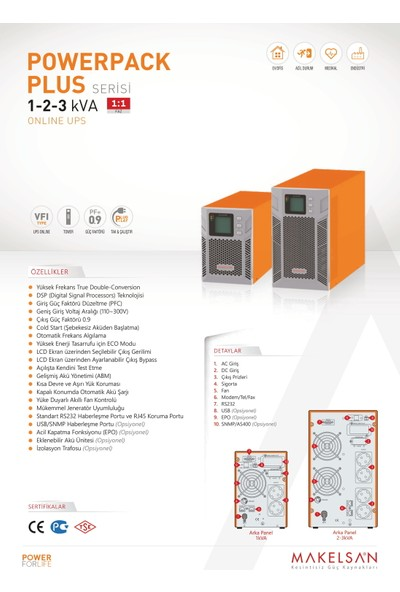 Makelsan Powerpack Plus 3 KVA (6x7AH) 1F/1F On-Line Ups