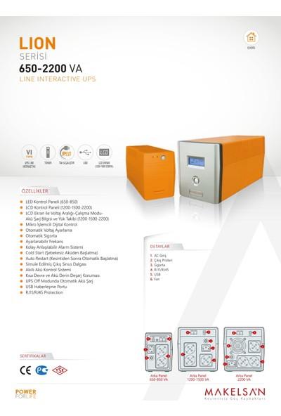 Makelsan Lion 1200 Va (2x7AH) 1F/1F Line Interactive Ups
