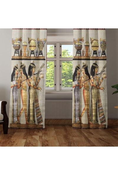 Osso Mısır Etnik Figürlü 3D Dekoratif Modern Fon Perde