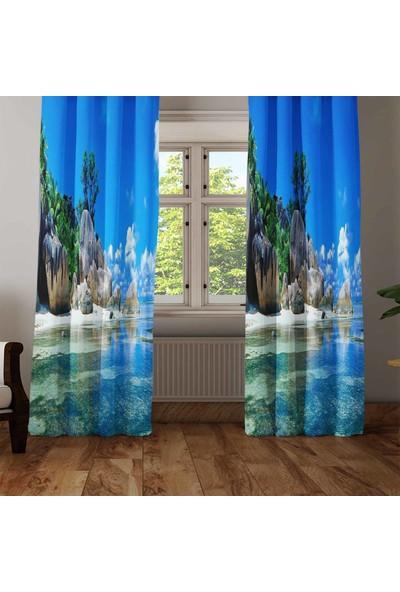 Osso Tropikal Sahil Deniz Manzara 3D Dekoratif Modern Fon Perde