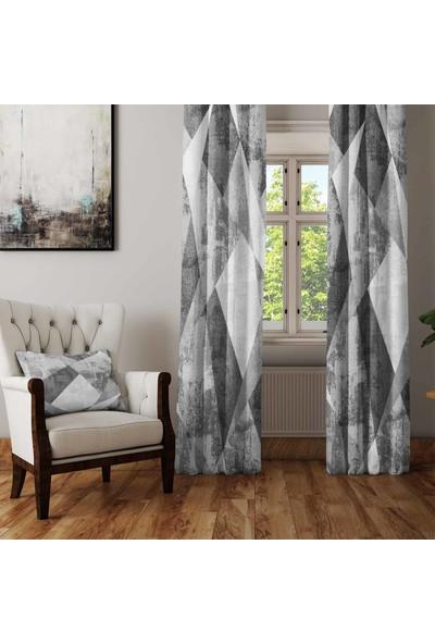 Osso Gri Beyaz Patchwork Batik Suluboya Desenli Oturma Odası Salon Fon Perde