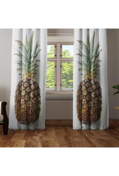 Osso Ananas Meyveli 3D Dekoratif Modern Mutfak Fon Perde