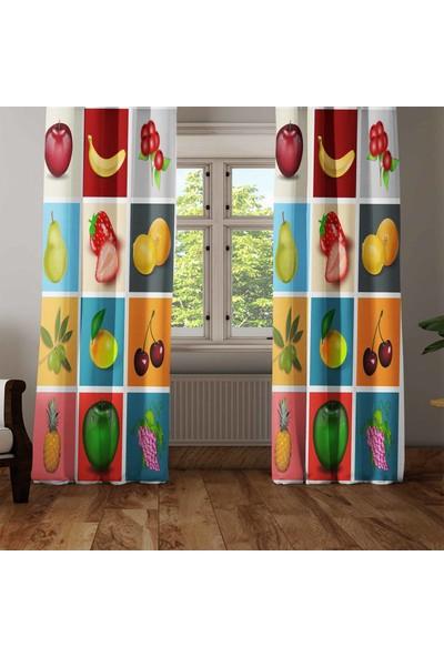 Osso Patchwork Meyveler 3D Dekoratif Modern Mutfak Fon Perde