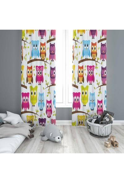 Osso Renkli Baykuşlar Bebek Çocuk Odası Modern Desenli Fon Perde