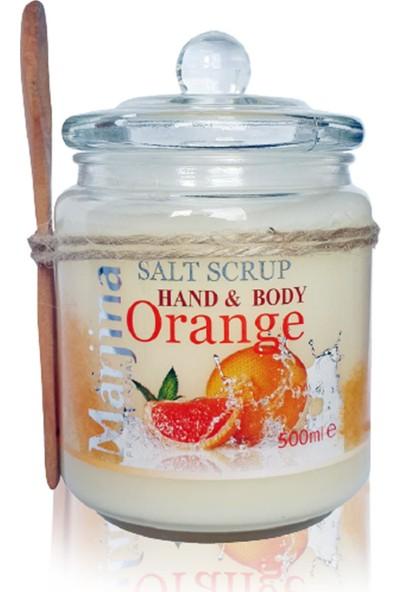 Marjinal El Vücut Portakal Aromalı Tuz Peeling Cam Şişe 500 ml