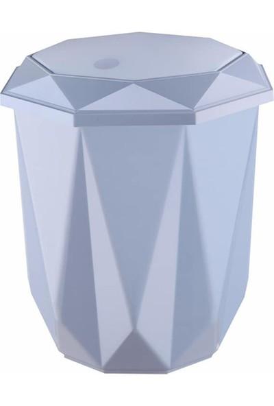 Kaya Store Kristal Desen Lüx Banyo Mutfak Çöp Kovası 5 lt Mavi