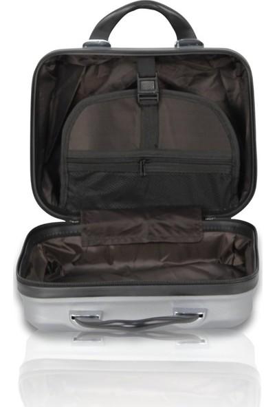 Troya Premium Abs 2'li Valiz Seti Makyaj + Orta Boy Siyah
