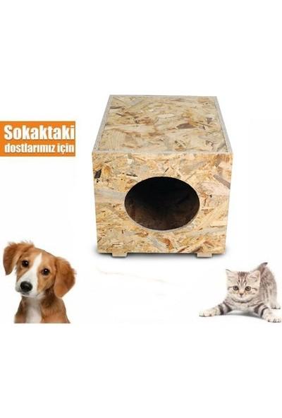 Brn Ahşap Kedi Evi Dış Mekan Kedi Kulübesi