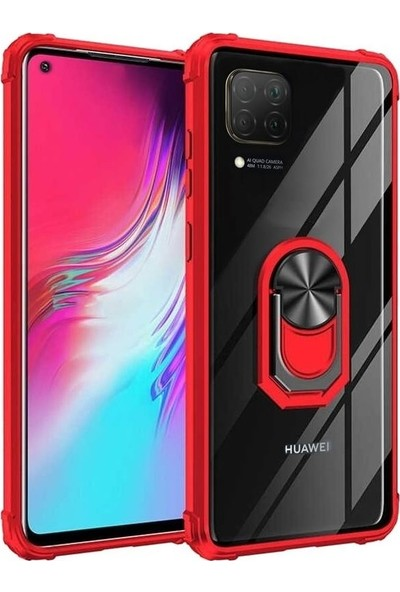 Teleplus Huawei P40 Lite Kılıf Mola Yüzüklü Tank Kapak + Nano Ekran Koruyucu Kırmızı