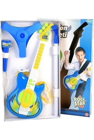 Mega Oyuncak Mikrofon Gitar Seti Mavi 6969-62