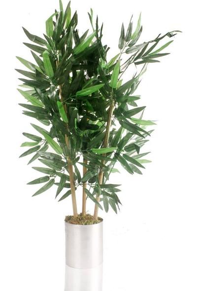 Nettenevime Yapay Çiçek Yapay Bambu Ağacı Paslanmaz Aleminyum Saksılı 80 cm