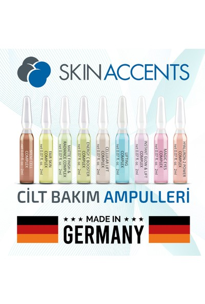 Skin Accents Kök Hücre Yenileyici Ampul Stem Cell Complex Cilt Serumu 3 Adet Dermaroller Dermapen Serum
