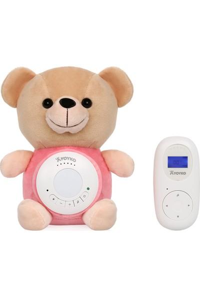Yoyko Bear Dijital Bebek Telsizi 300m - Şarjlı - Isı Göstergesi - Interkom - LCD Ekran - Gece Işığı - Ninni (Pembe)