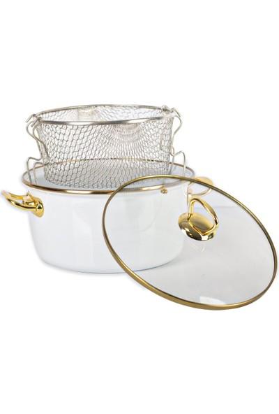 Acar Qualita 10814 22 cm Emaye Kızartma Tenceresi Beyaz Gold