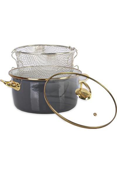 Acar Qualita 10815 22 cm Emaye Kızartma Tenceresi Gri Gold
