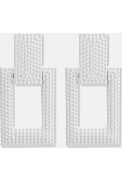 Myfavori Geometrik Beyaz Küpe 5 cm