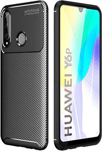 Coverzone Huawei Y6P Kılıf Karbon Delüx Tpu Silikon DLX Siyah