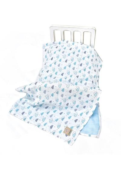 Mina'nın Düşleri 4 Katlı Bebek Müslin Battaniyesi Bulut - Mavi