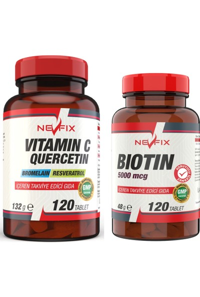 Nevfix Vitamin C 1000 mg 120 Tablet Biotin 5000 Mcg 120 Tablet