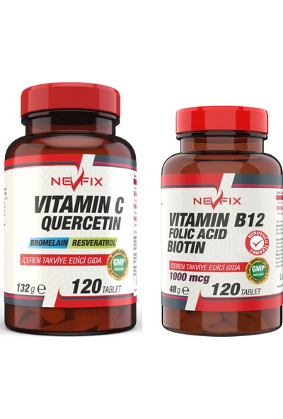 Nevfix B12 Folic Acid & Biotin 120 Tablet Vitamin C 1000 mg 120 Tablet