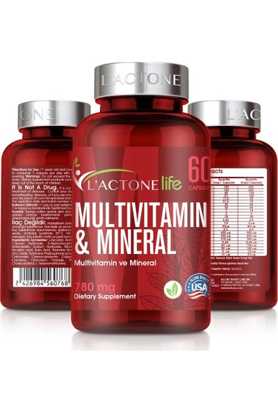 L'actone Mulivitamin ve Mineral 780 mg / 60 Kapsül