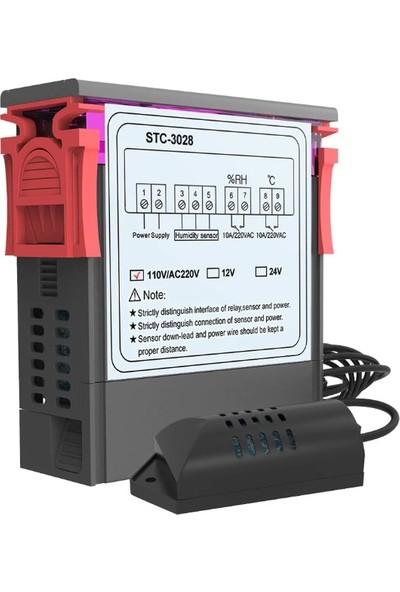 Stc STC-3028 Dijital Sıcaklık Nem Ölçer 110-220V 10A Termostat Çift Ekran Termometre