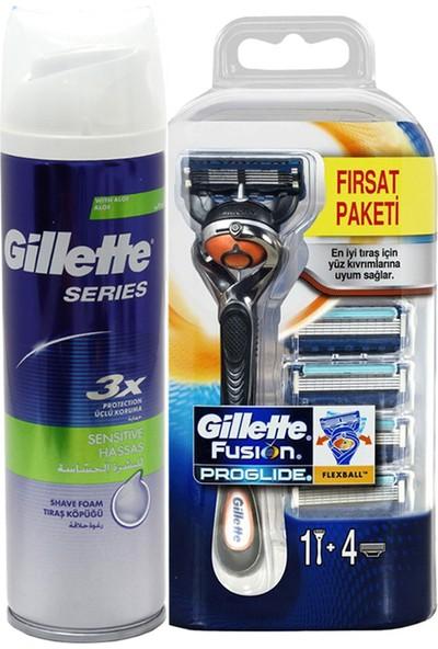 Gillette Fusion Proglide 5 Up Tıraş Makinası + Sensitive Köpük 250 ml