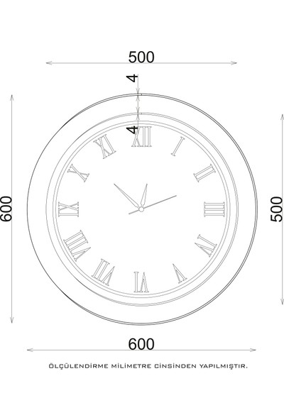 Camex Modern Tasarım Kahverengi Roma Rakamlı Duvar Saati