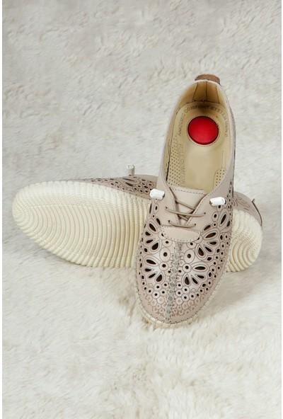 Hoba Tekstil Kadın Bej 5 Noktalı Günlük Rahat Ayakkabı