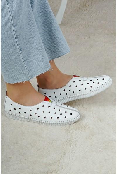 Hoba Tekstil Kadın Beyaz 5 Noktalı Günlük Rahat Ayakkabı