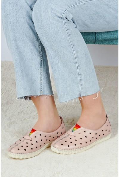 Hoba Tekstil Kadın Pudra 5 Noktalı Günlük Rahat Ayakkabı
