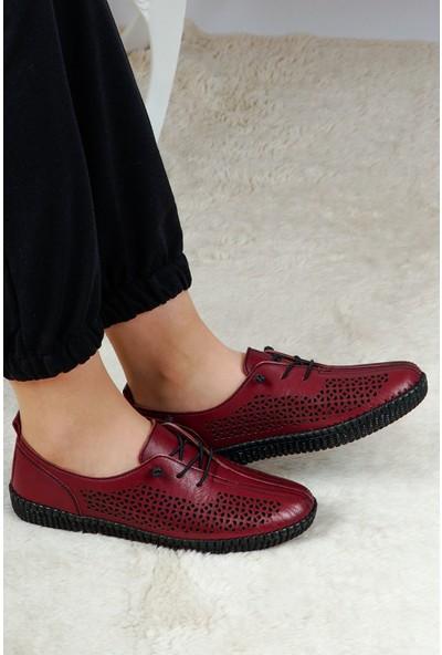 Hoba Tekstil Kadın Bordo 5 Noktalı Günlük Rahat Ayakkabı