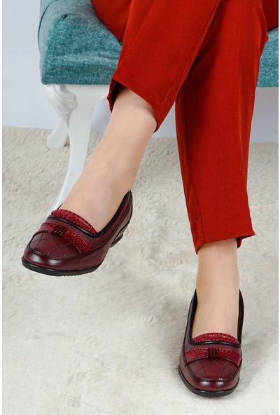 Hoba Tekstil Kadın Bordo 5 Noktalı İçi Deri Günlük Rahat Ayakkabı