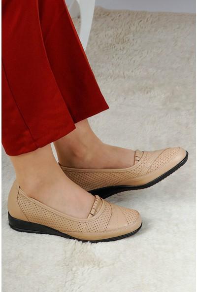 Hoba Tekstil Kadın Bej 5 Noktalı İçi Deri Günlük Rahat Ayakkabı