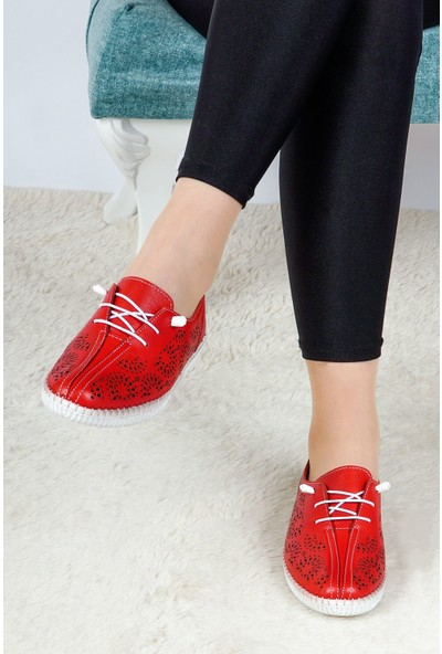 Hoba Tekstil Kadın Kırmızı 5 Noktalı Günlük Rahat Ayakkabı