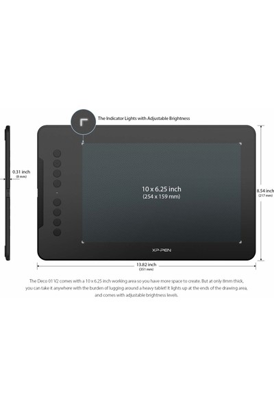 """Xp-Pen Deco 01 V2 10 x 6.25"""" 8192 8 Kısayol Tuşlu Grafik Tablet (Yurt Dışından)"""