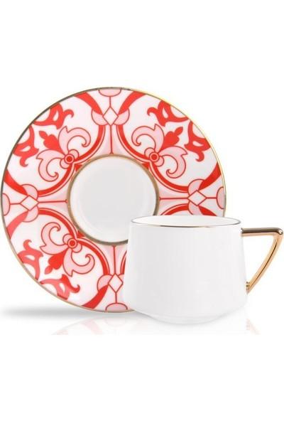 Winterbach Kırmızı Çiçek Desen 6 Kişilik Türk Kahvesi Fincanı