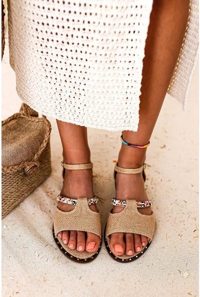 Limoya Alissa Hasır Renkli Taş Detaylı Kemerli Düz Sandalet
