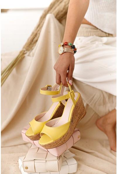 Limoya Amour Limon Mantar Dolgu Topuklu Sandalet